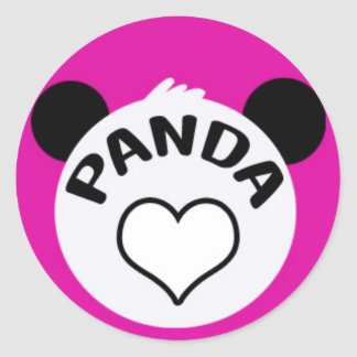 Panda Hearty on Pink Classic Round Sticker