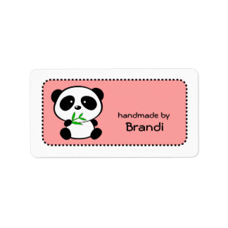 Panda hecha a mano por las etiquetas conocidas de etiquetas de dirección