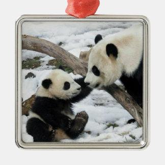 Panda High Five Square Metal Christmas Ornament