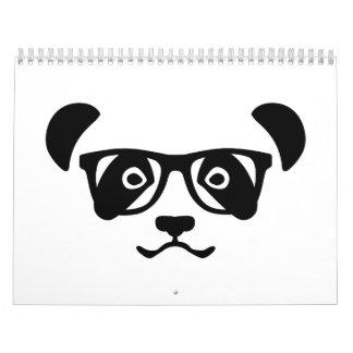 Panda hipster nerd calendar