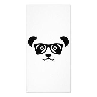 Panda hipster nerd photo card