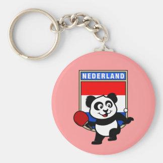 Panda holandesa de los tenis de mesa llavero redondo tipo pin