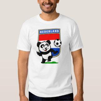 Panda holandesa del fútbol (camisetas ligero) playeras