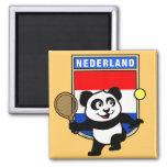 Panda holandesa del tenis imán para frigorífico