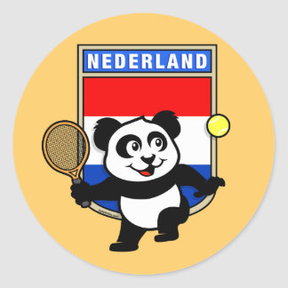 Panda holandesa del tenis pegatina redonda