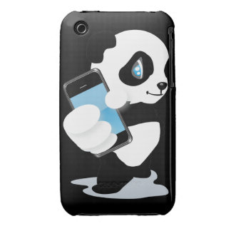 Panda holding a smartphone iPhone 3 covers