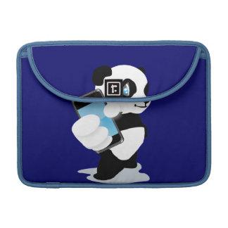 Panda holding a smartphone sleeve for MacBooks