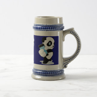 Panda holding an iPhone 18 Oz Beer Stein