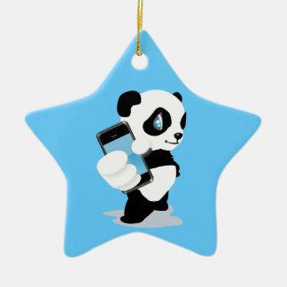 Panda holding an iPhone Ceramic Ornament
