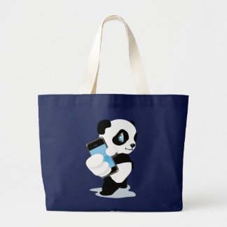 Panda holding an iPhone Large Tote Bag