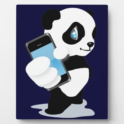 Panda holding an iPhone Display Plaque