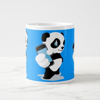 Panda holding an iPhone Jumbo Mugs