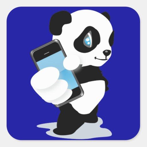 Panda holding an iPhone Square Sticker