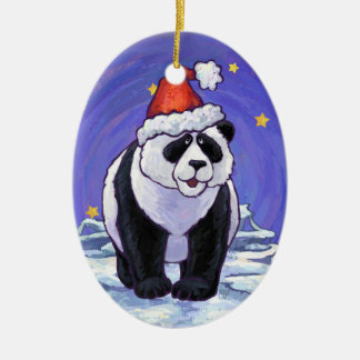 Panda Holiday Ceramic Ornament