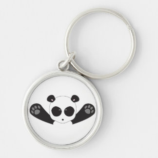 Panda Hugs Silver-Colored Round Keychain