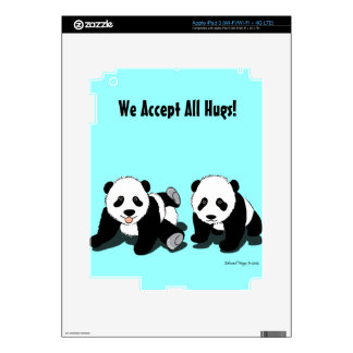 Panda Hugs Decal For iPad 3