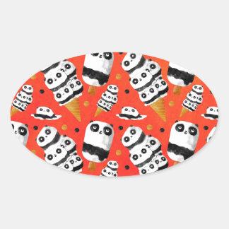Panda Ice Cream Pattern Oval Sticker