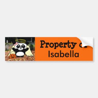 Panda in Angel Costume in Scary Graveyard Car Bumper Sticker