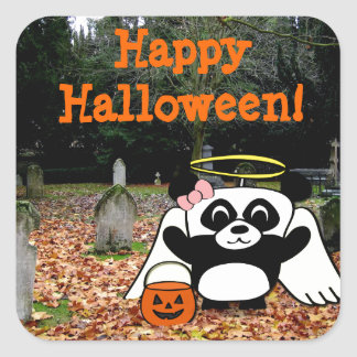 Panda in Angel Costume in Scary Graveyard Stickers
