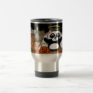 Panda in Angel Costume in Scary Graveyard Travel Mug