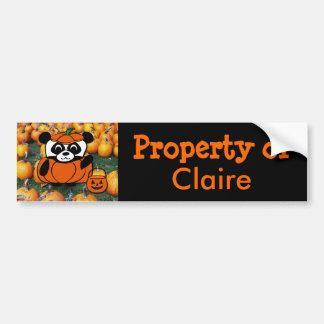 Panda in Devil Costume at Haunted Corn Maze Car Bumper Sticker