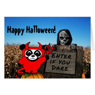 Panda in Devil Costume at Haunted Corn Maze Card