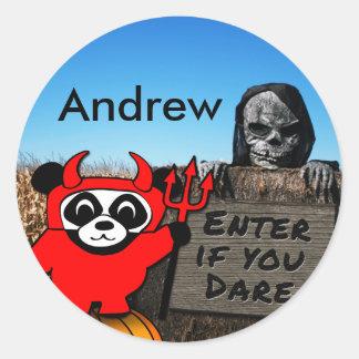 Panda in Devil Costume at Haunted Corn Maze Classic Round Sticker