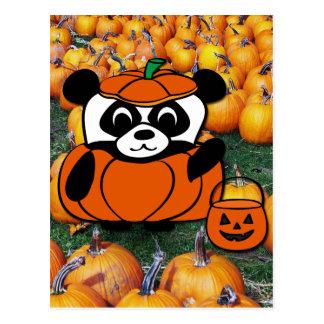 Panda in Devil Costume at Haunted Corn Maze Postcard