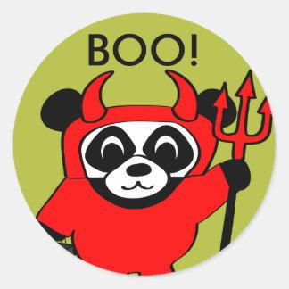 Panda in Devil Costume Trick or Treat Classic Round Sticker