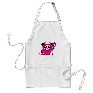 Panda in Pink Devil Costume Adult Apron