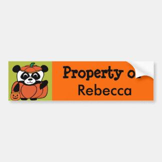 Panda in Pumpkin Costume Trick or Treat Bumper Sticker