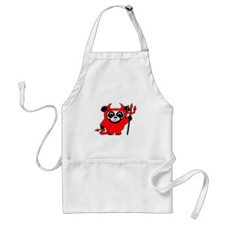Panda in Red Devil Costume Adult Apron