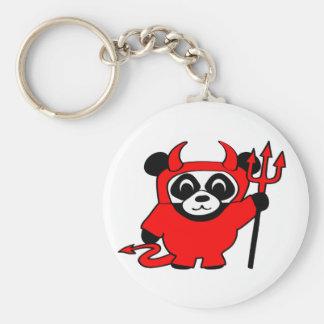 Panda in Red Devil Costume Keychain