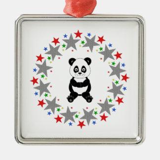 Panda in Stars Metal Ornament