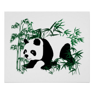 Panda in the Bamboo Forest Poster