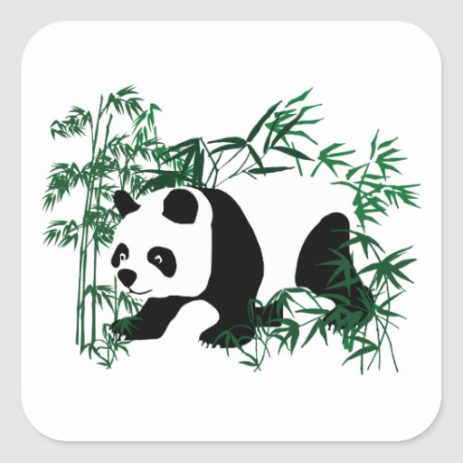 Panda in the Bamboo Forest Square Sticker