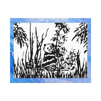 Panda in the Bamboo Ink Drawing Decor Art 3 Canvas Print