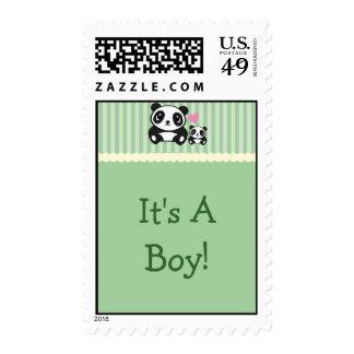 Panda It's A Boy Stamp - Green