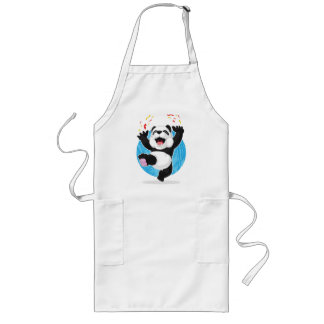 Panda Jumping in Excitement Long Apron