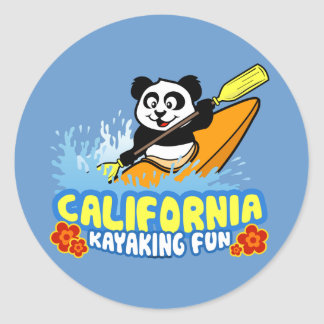 Panda Kayaking de la diversión de California Etiqueta Redonda
