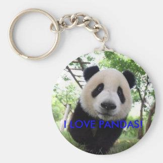 panda keychain, I LOVE PANDAS! Basic Round Button Keychain