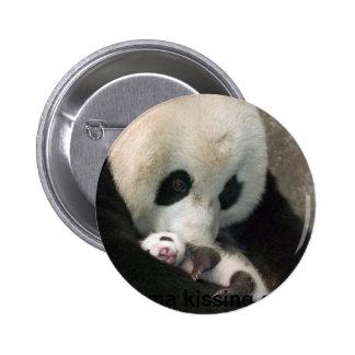 Panda kissing cub pinback button