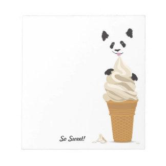 Panda Licking Ice Cream - Sweet Notepad