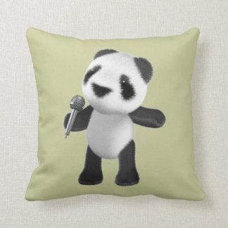 Panda linda 3d que canta con el micrófono cojín