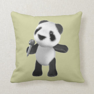 Panda linda 3d que canta con el micrófono (editabl cojin
