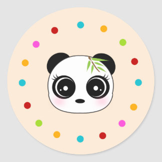 Panda linda, círculo del lunar pegatina redonda