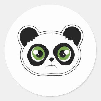 Panda linda con actitud - panda triste pegatina redonda