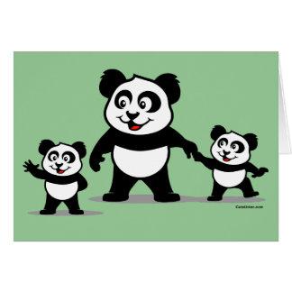 Panda linda con dos bebés tarjeta de felicitación