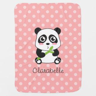 Panda linda con el bambú, lunares rosados mantas de bebé
