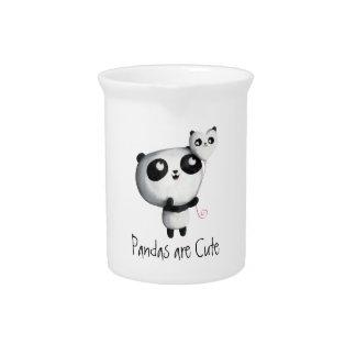 Panda linda con el globo jarras
